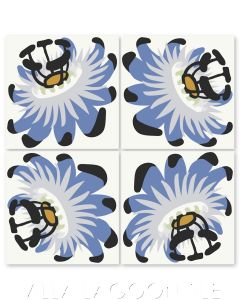 """""""Passion Flower Oblique in Periwinkle on White"""" Whimsical Floral Cement Tile by Jeff Shelton, from Villa Lagoon Tile."""