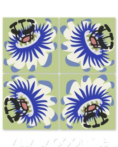 """""""Passion Flower Oblique in Sand Dollar on Green Apple"""" Whimsical Floral Cement Tile by Jeff Shelton, from Villa Lagoon Tile."""