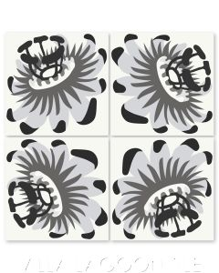 """Passion Flower Oblique Sencillo"" Whimsical Floral Cement Tile by Jeff Shelton, from Villa Lagoon Tile."