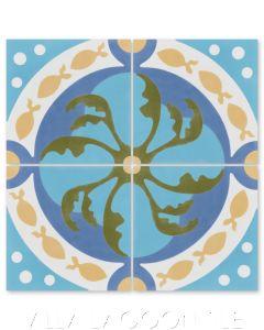 """""""Pescado Azul"""" Coastal Cement Tile, by Villa Lagoon Tile."""