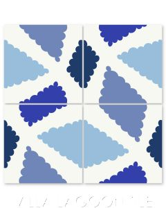 """Pies in Blue"" Modern Whimsical Cement Tile by Jeff Shelton, from Villa Lagoon Tile."