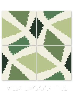"""""""Pies in Green"""" Modern Whimsical Cement Tile by Jeff Shelton, from Villa Lagoon Tile."""