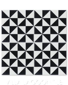 """""""Pinwheel A Black and White"""" Geometric Cement Tile, from Villa Lagoon Tile."""