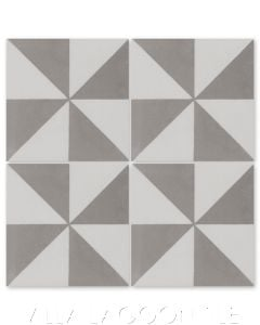"""""""Pinwheel Grande A Featherstone and White"""" Geometric Cement Tile, from Villa Lagoon Tile."""