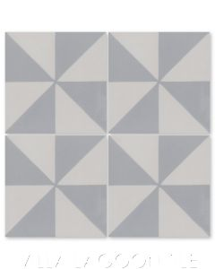 """""""Pinwheel Grande A Silver and White"""" Geometric Cement Tile, from Villa Lagoon Tile."""