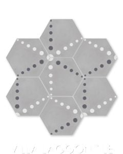 """Radar Love Sencillo"" Geometric Hex Cement Tile, by Villa Lagoon Tile."