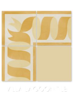 """""""Ribbon Border Gold"""" Traditional Cement Tile, by Villa Lagoon Tile."""