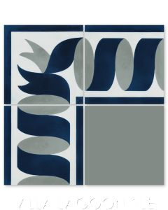 """""""Ribbon Border Ice"""" Traditional Cement Tile, by Villa Lagoon Tile."""