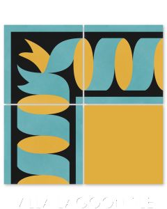 """Ribbon Border Caribbean Gold"" Traditional Cement Tile, by Villa Lagoon Tile."
