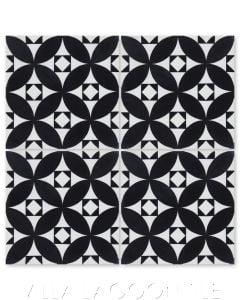 """Saint Mark's Black and White Evening"" Venetian Mosaic Cement Tile, from Villa Lagoon Tile."