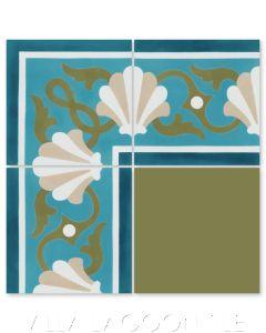 """Shell Scroll Border Azul"" Coastal Cement Tile, by Villa Lagoon Tile."