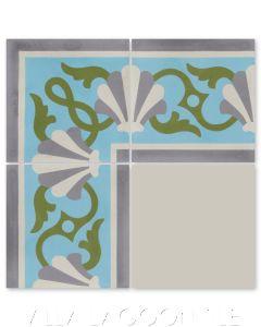 """Shell Scroll Border Azul Spring"" Coastal Cement Tile, by Villa Lagoon Tile."