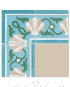 """Shell Scroll Border Caribbean"" Coastal Cement Tile, by Villa Lagoon Tile."