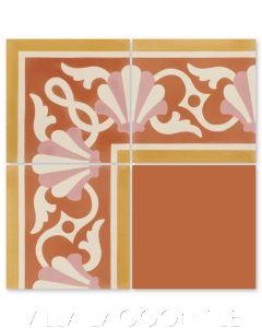 """Shell Scroll Border Coral"" Coastal Cement Tile, by Villa Lagoon Tile."