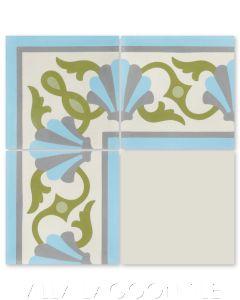 """Shell Scroll Border Custom 1801"" Coastal Cement Tile, by Villa Lagoon Tile."
