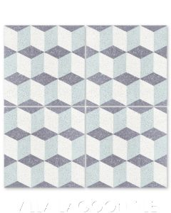 """""""Small Cubes Mint to Be Terrazzo"""" Geometric Cement Tile, from Villa Lagoon Tile."""