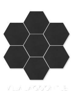 Solid Hex Black Cement Tile, SB-2000, from Villa Lagoon Tile.