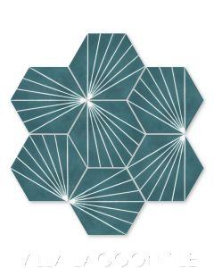 """Spark C Aegean"" Geometric Hex Cement Tile, from Villa Lagoon Tile."