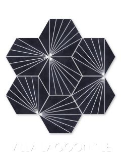 """""""Spark C Black and White Evening"""" Geometric Hex Cement Tile, from Villa Lagoon Tile."""