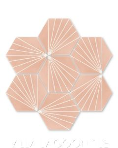 """""""Spark C Coral"""" Geometric Hex Cement Tile, from Villa Lagoon Tile."""