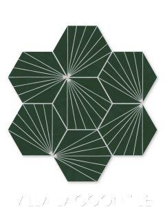 """Spark C Summer"" Geometric Hex Cement Tile, from Villa Lagoon Tile."