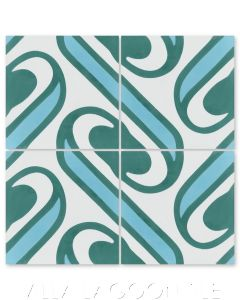 """Surf Aqua"" Coastal Cement Tile, by Villa Lagoon Tile."