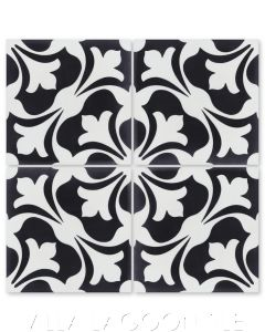 """""""Swan Black and White"""" Classic French Cement Tile, from Villa Lagoon Tile."""