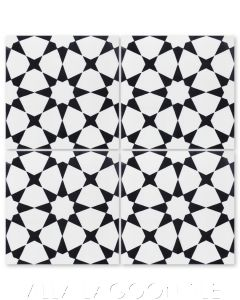 """Taza Black & White Morning"" Moroccan Cement Tile, from Villa Lagoon Tile."