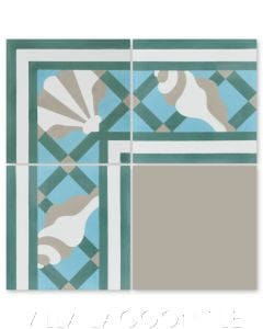 """Trellis Shell Border Aqua"" Coastal Cement Tile, by Villa Lagoon Tile."
