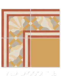 """Trellis Shell Border Gold"" Coastal Cement Tile, by Villa Lagoon Tile."