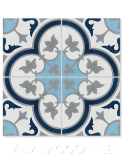 """Tulips B Ice"" Traditional Floral cement tile, from Villa Lagoon Tile."