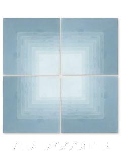 """Virginia Stripe Border Corner Exterior Stone Blue Ombré"" Geometric Cement Tile, from Villa Lagoon Tile."