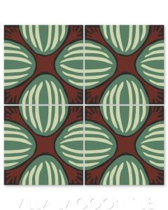 """""""Watermelon on Bold Brick"""" Whimsical Floral Cement Tile by Jeff Shelton, from Villa Lagoon Tile."""
