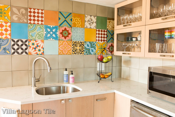A wild mix of colorful patchwork cement tile, from Villa Lagoon Tile.