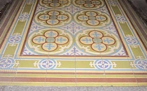 An antique Mexican cement tile floor, photographed on a Villa Lagoon Tile research tour.