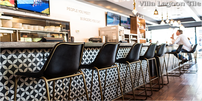 Circulos Black and White Cement Tile bar front, by Villa Lagoon Tile.